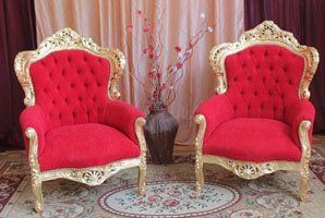 fauteuil bergere baroque dore rouge