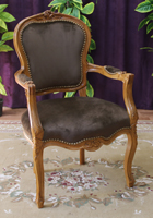 Chaise Cabriolet a accoudoirs Style Louis XV