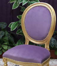 chaise medaillon or violet